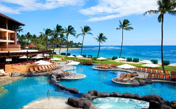 Discover Poipu Beach S Newest Playground At The 394 Room Sheraton Kauai Resort A Modern Refurbished Entry Leads To Beautifully Landscaped Open Air
